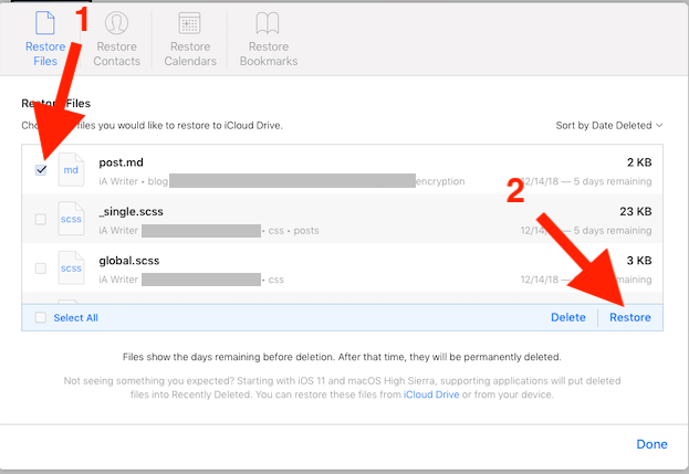 Restore files from iCloud Settings