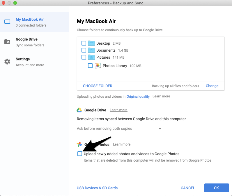 Right Tick to Upload the Newly Added Photos and Videos to Google Drive