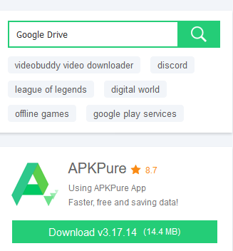 Search Google Drive on APKpure
