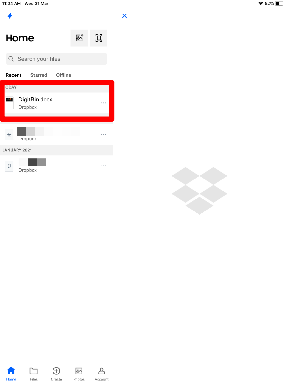 Select FIle to Share on Web