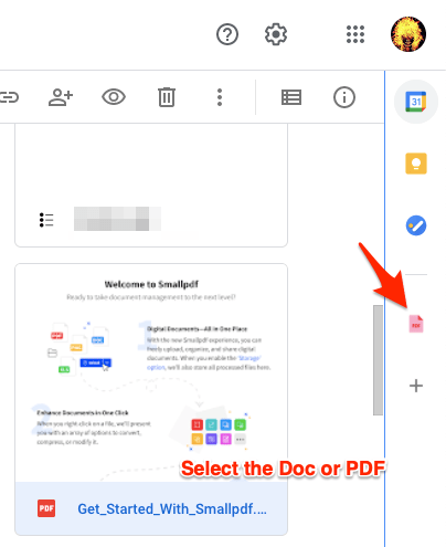 Select Doc and Click on PDF Toolbox icon