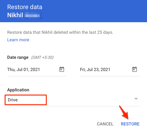 Select Drive and Hit Restore