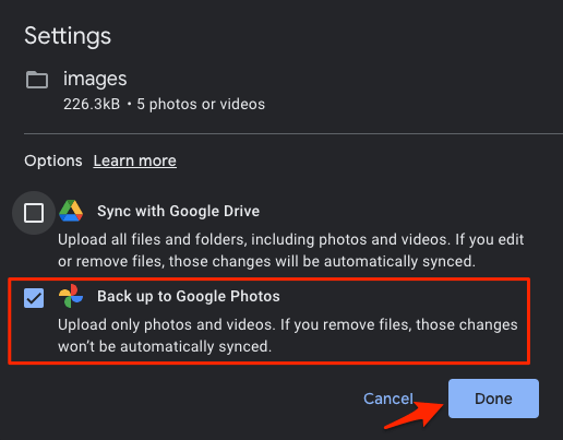 Select Google Photos and Click Done