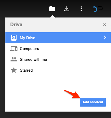 Select Location and Click Add Shortcut