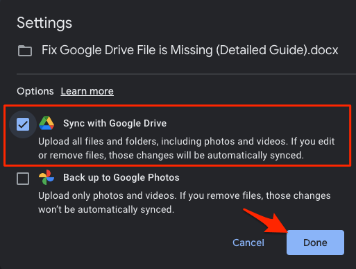 Select Sync with Google Drive and Hit Done