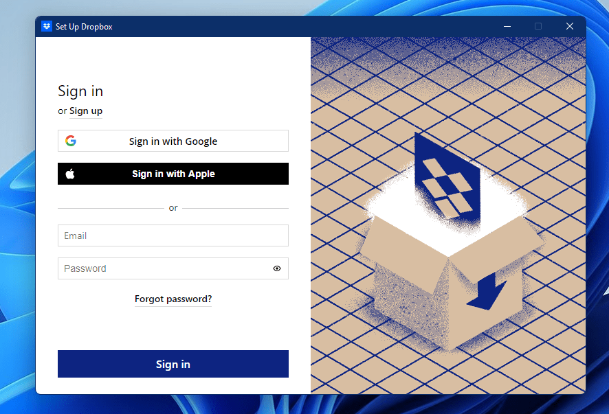 Sign in to Dropbox