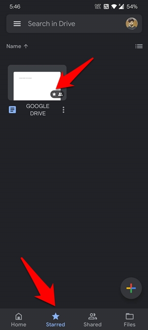 Starred File on Drive App