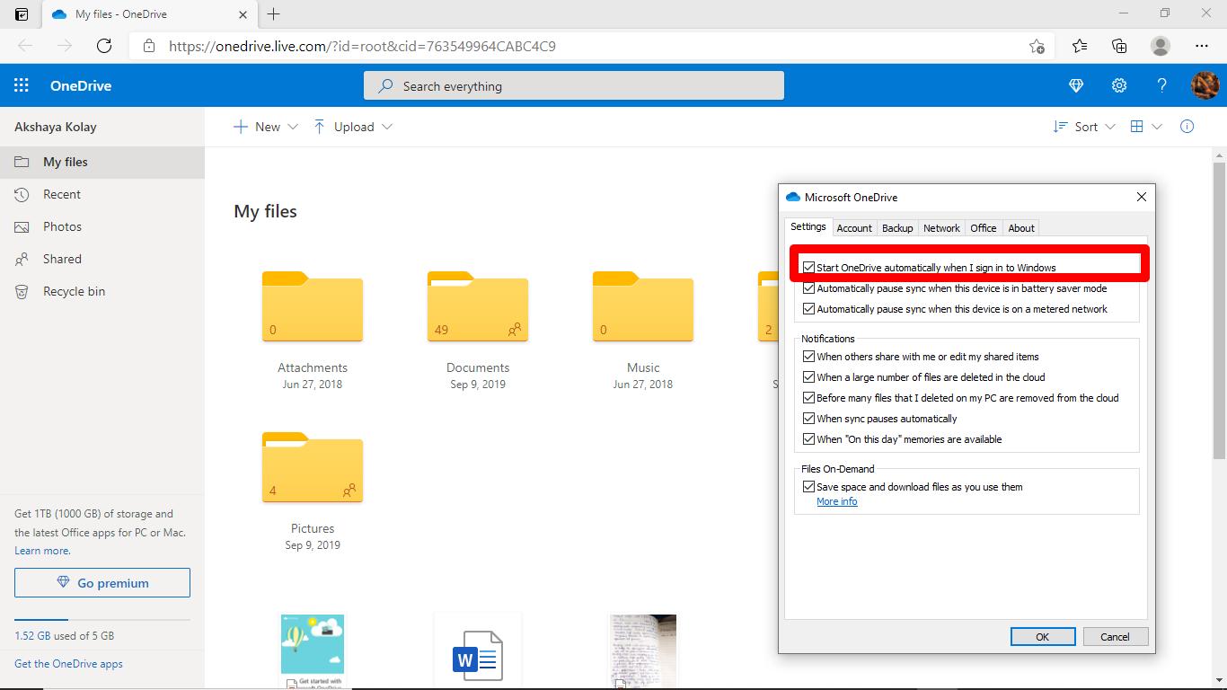 Strat OneDrive in Windows