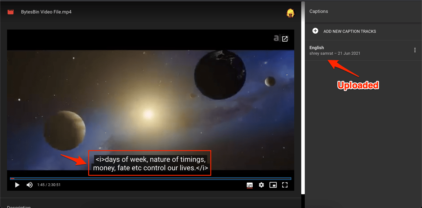 Subtitle Uploaded and Working