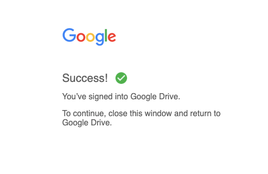 Success Login Google Drive for Desktop