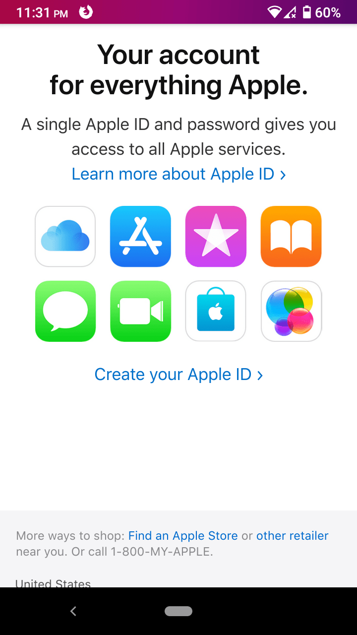"""Swipe down until the """"Create your Apple ID"""" option shows up on the screen"""