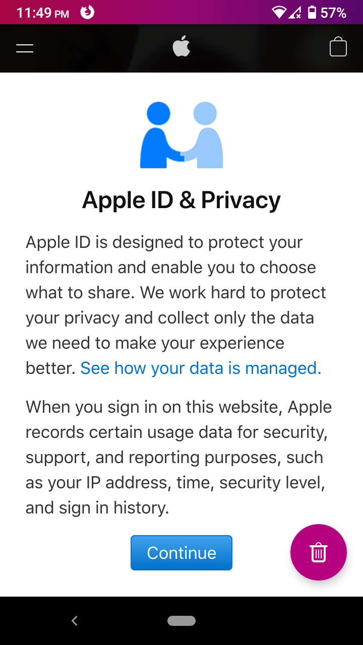 """Swipe down until the """"Create your Apple ID"""" option shows up on the screen."""