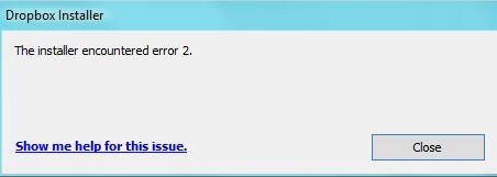 The installer encountered error 2