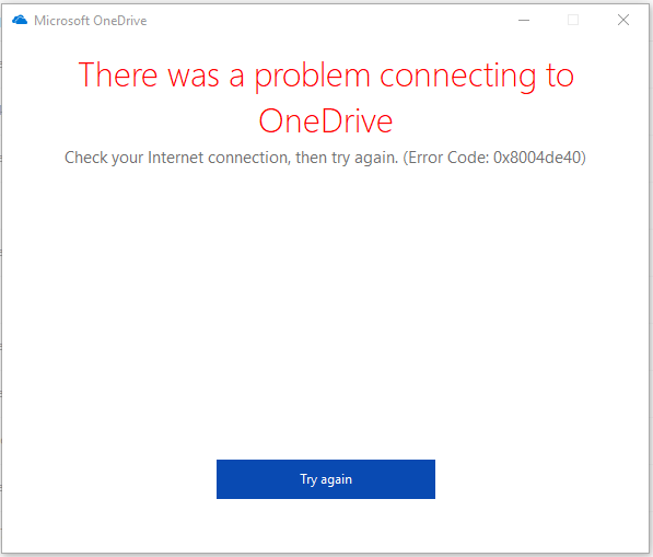 There was Problem Connecting to OneDrive