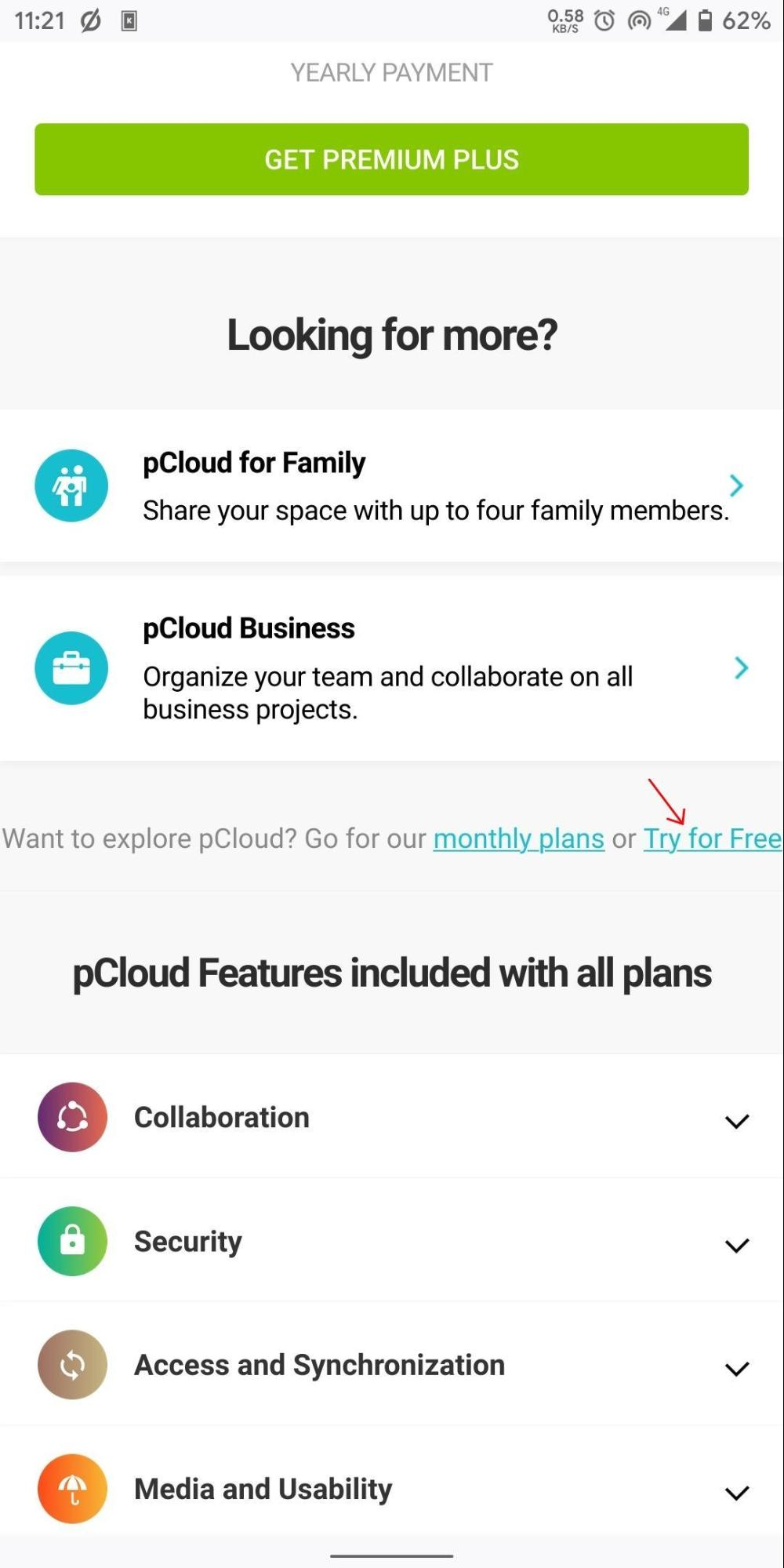 Try pCloud for Free Using App