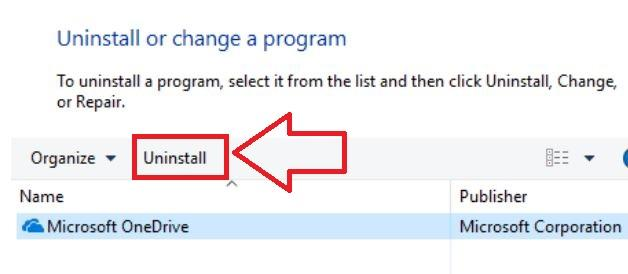 Uninstall OneDrive from PC