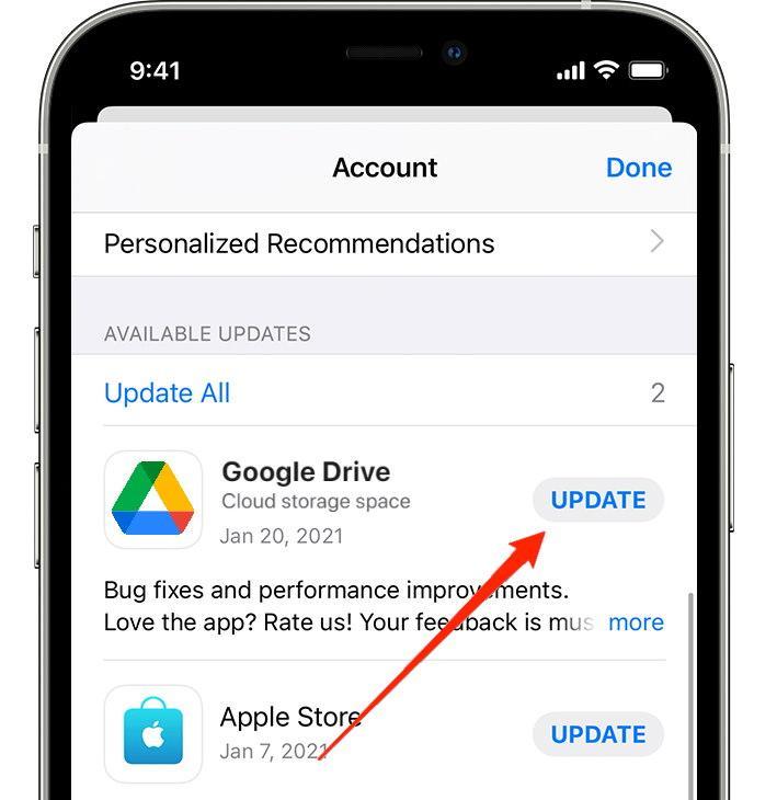 Update Google Drive iOS