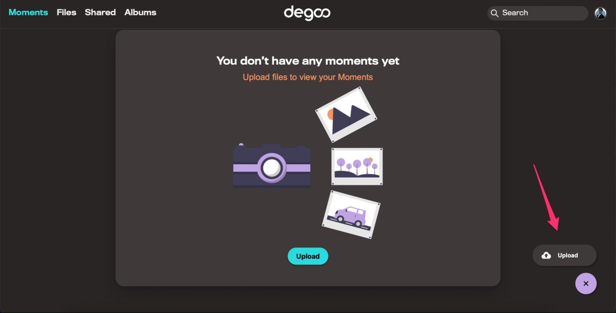 Upload File Degoo