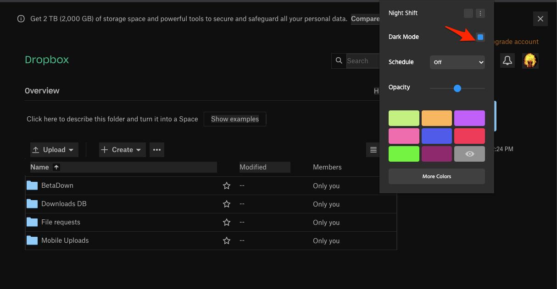 Use Toggle to Dark Mode on Dropbox Web