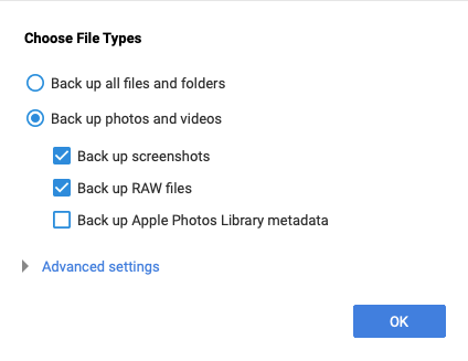 click on Backup Photos and Videos