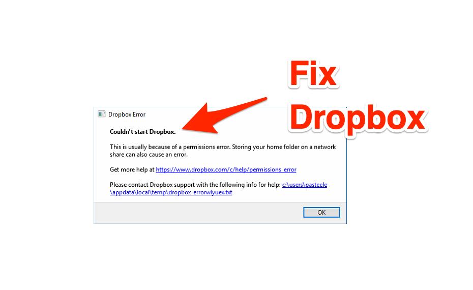 fix couldn't start dropbox Permissions Error Windows