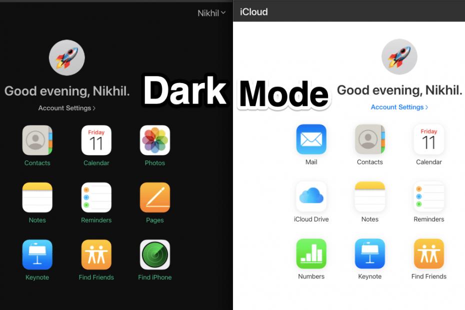iCloud Web Dark Mode