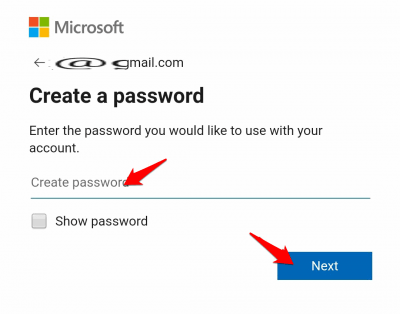 solve the given captcha and click on continue to complete setting up your Microsoft account