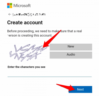 type in a new password and click on Next